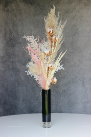 Pink Dried Black Vase